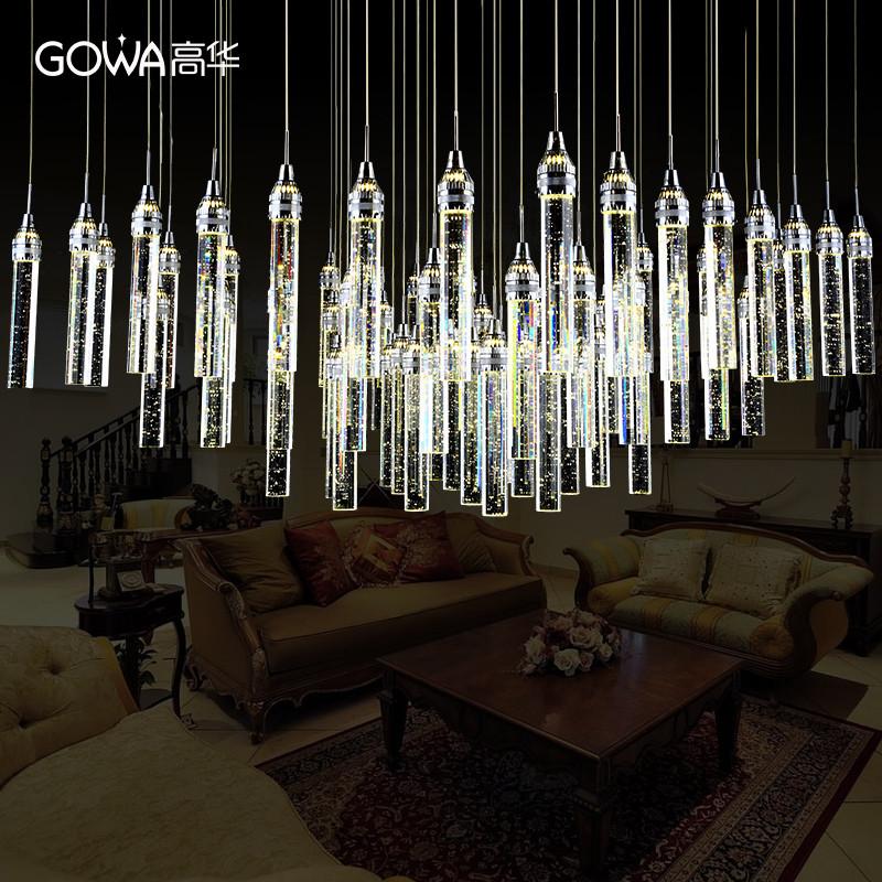 高华led现代简约大气客厅长方形别墅气泡水晶吊灯饰温馨餐厅灯具