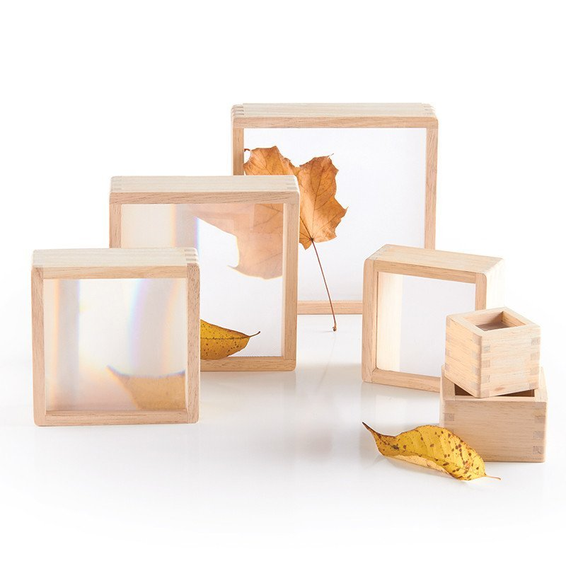 幼儿教育玩具幼儿园教具放大镜叠加实木积木套装积木教学安全环保积木