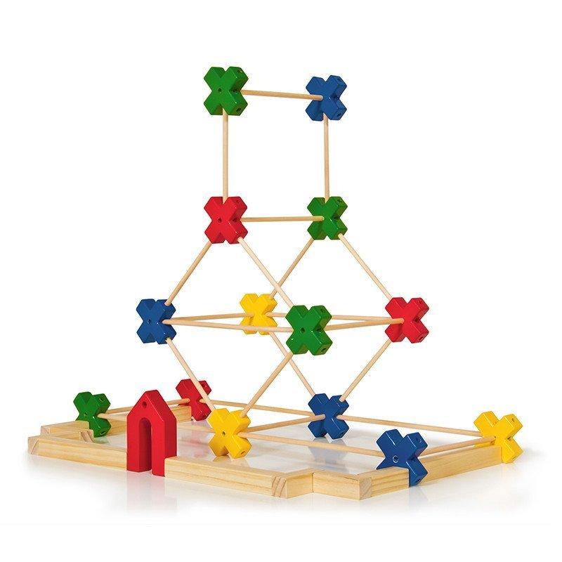 建筑搭建积木3d搭建益智积木木条建筑结构学习3d搭建65件思维游戏