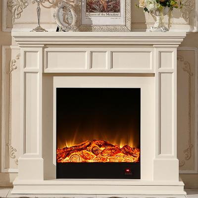 帝轩名典1.2米简约美式实木壁炉柜 象牙白欧式壁炉 装饰LED取暖炉芯