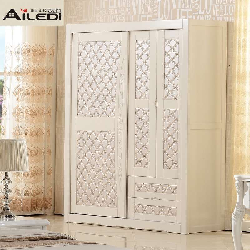 艾乐迪 韩式田园趟门衣柜实木欧式象牙白色推拉门 滑门衣柜 移门三门