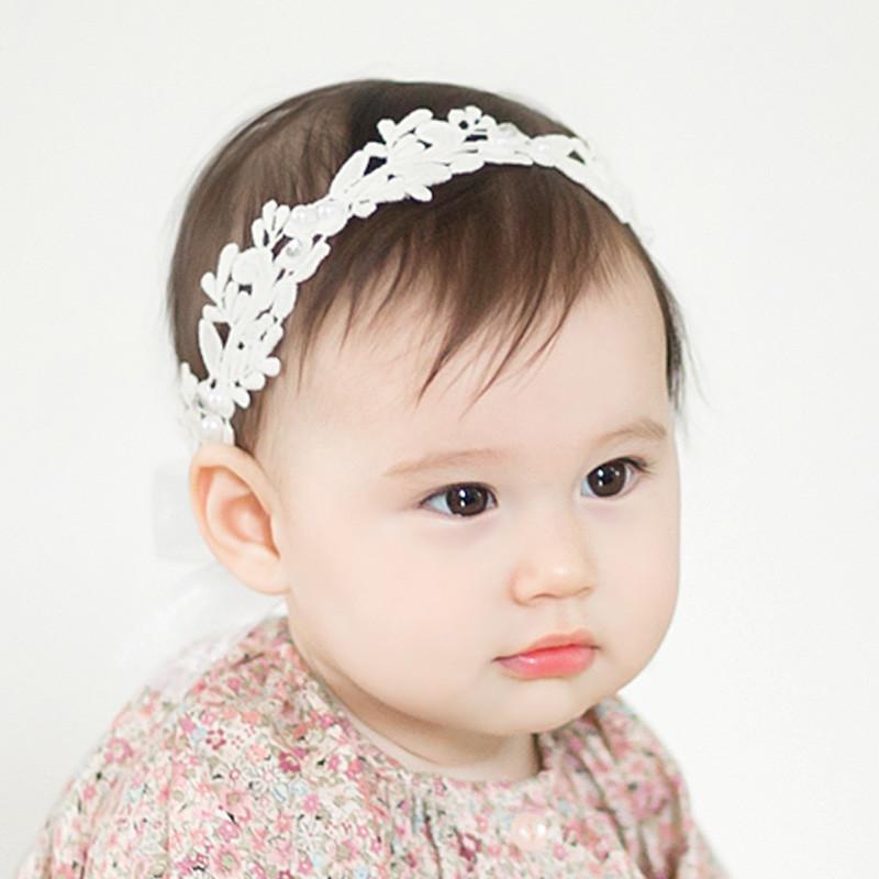 贝迪牛婴幼儿兔耳朵钻叶子可爱萌宝宝发饰周岁拍照摄影 米白色亮钻