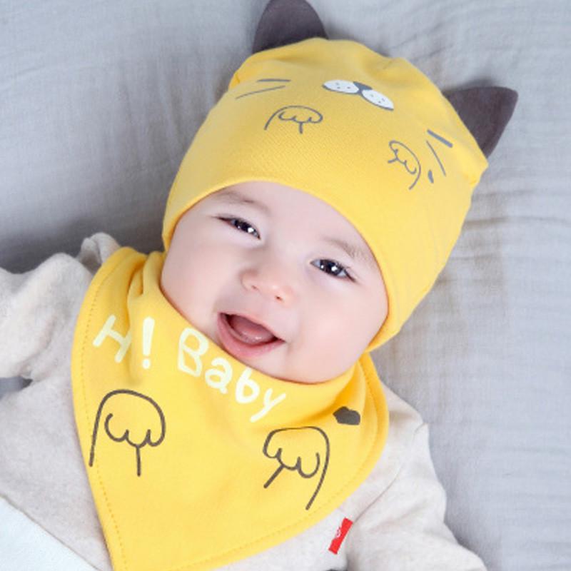 贝迪牛 【2件套】新生儿胎帽婴儿帽 男女宝宝卡通帽三角巾套装