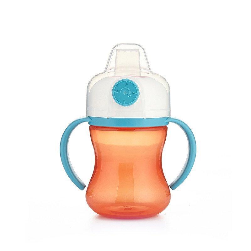 新贝宝宝水杯防漏喝水杯带手柄婴儿学饮杯鸭嘴杯可调节魔术杯蓝色