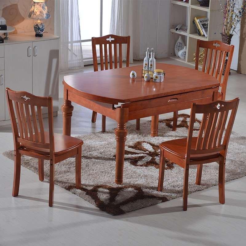 实木餐桌 餐桌椅组合 折叠餐桌 变形桌子方桌 圆桌 餐厅家具 原木色