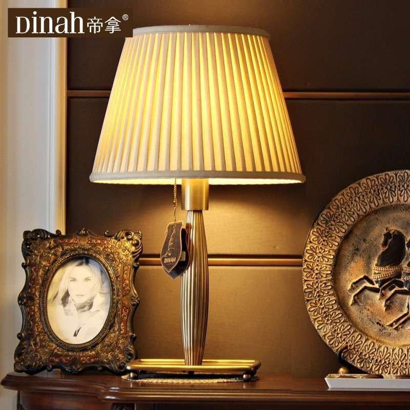 帝拿全铜欧式客厅台灯美式书房卧室纯铜台灯复古床头