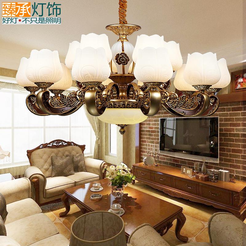 臻承 美式客厅大吊灯 欧式复古锌合金灯具 大气云石复式楼仿古灯饰图片