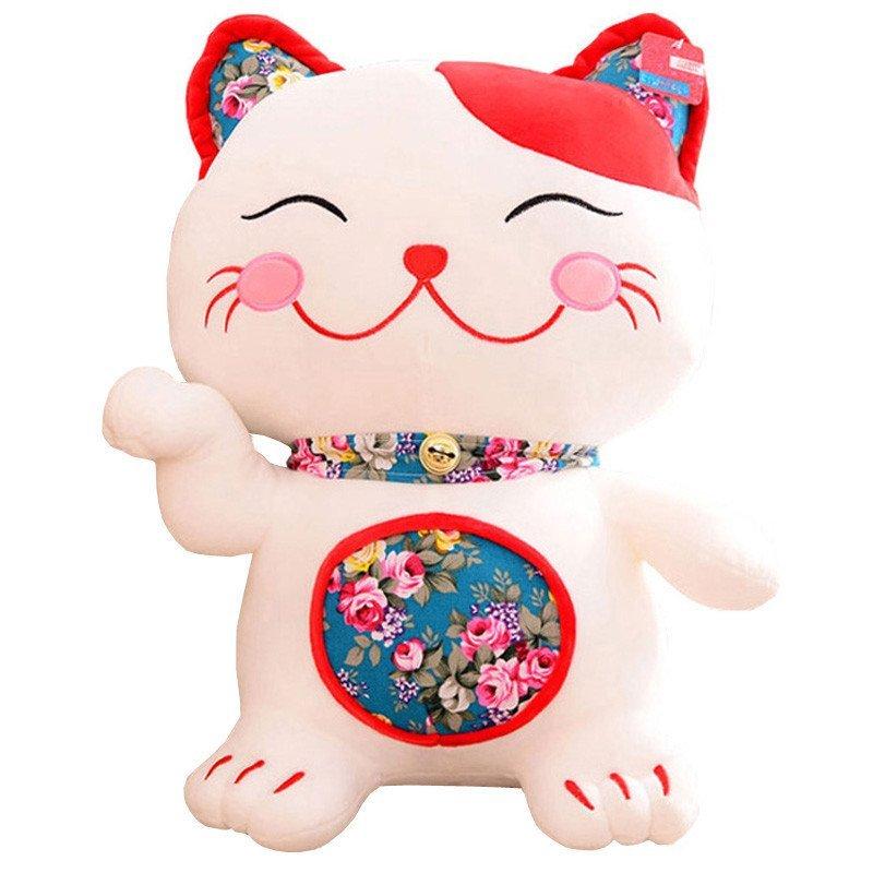 可爱卡通日本和风刺绣招财猫发财公仔儿童毛绒玩具布娃娃生日礼品
