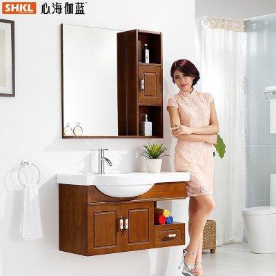 心海伽蓝 中式古典卫浴柜组合卫生间实木浴室柜挂墙