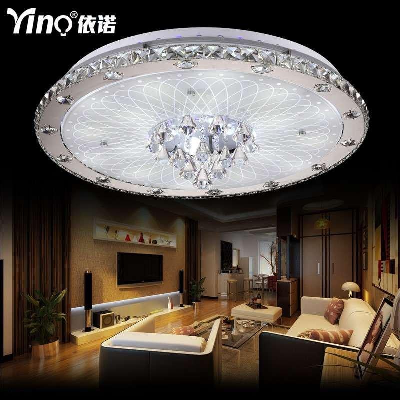 依诺灯具客厅灯圆形水晶灯现代欧式led水晶吸顶灯卧室