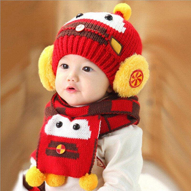 婴儿童秋冬帽子 宝宝加厚保暖帽子围巾 宝宝可爱瓢虫帽蜜蜂帽毛线