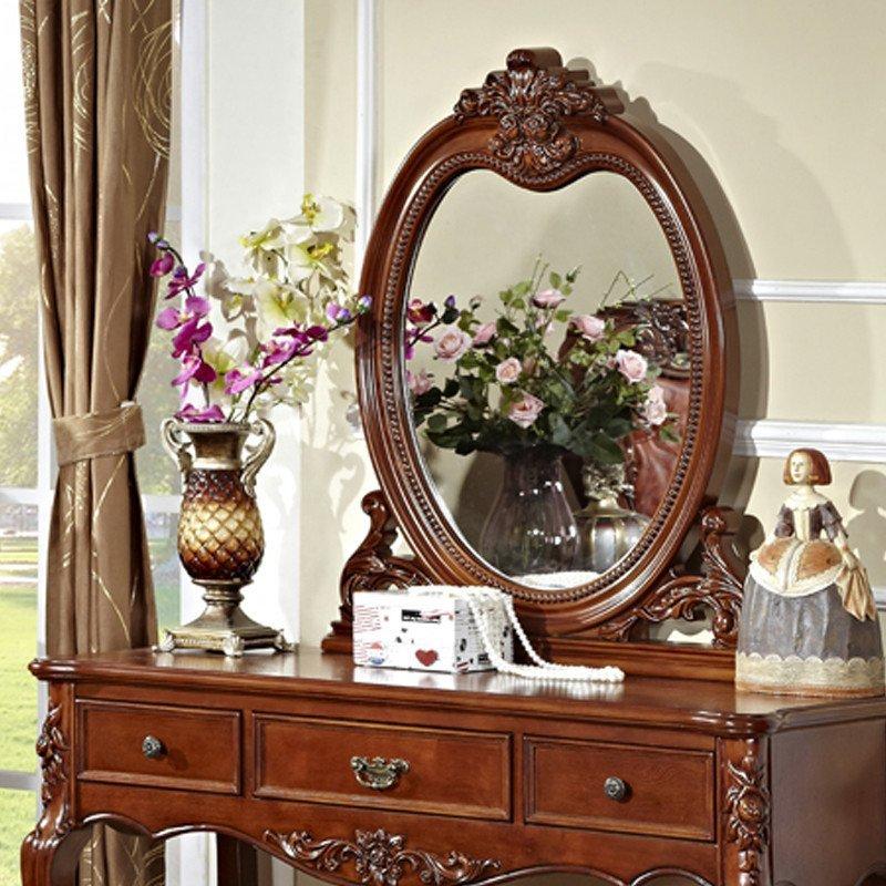 东莞家居产地馆 美式古典 雕花梳妆台 实木雕花妆台实木妆凳