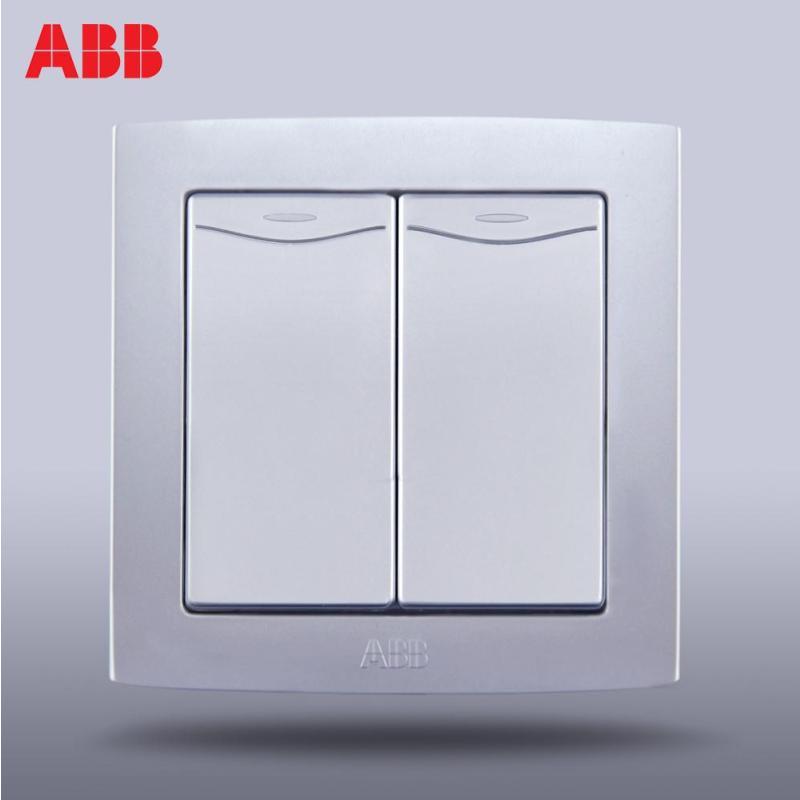 abb开关插座面板abb德韵直边银色 双联/二开双控带装饰线al136-s