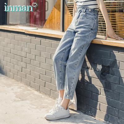 茵曼2020夏裝新款長褲中高腰時尚個性休閑顯瘦小腳牛仔褲女【F1802729】