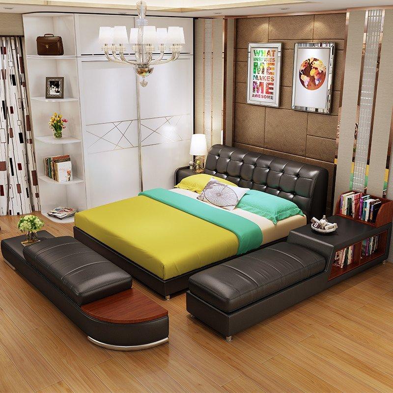 欧斯廷 皮床 卧室简约现代 真皮床 双人床单人床 实木床榻榻米1.8米床