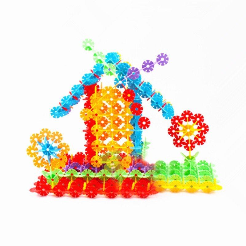 芙蓉天使立体拼图加厚雪花片塑料拼插积木10色超大号儿童建造拼装益智