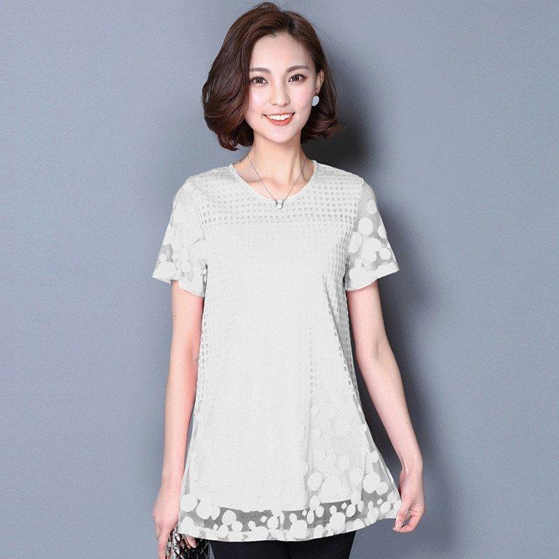 蕾丝大码雪纺衫