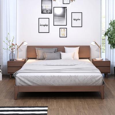 8北欧简约卧室大床1.5米原木简易木床 8809