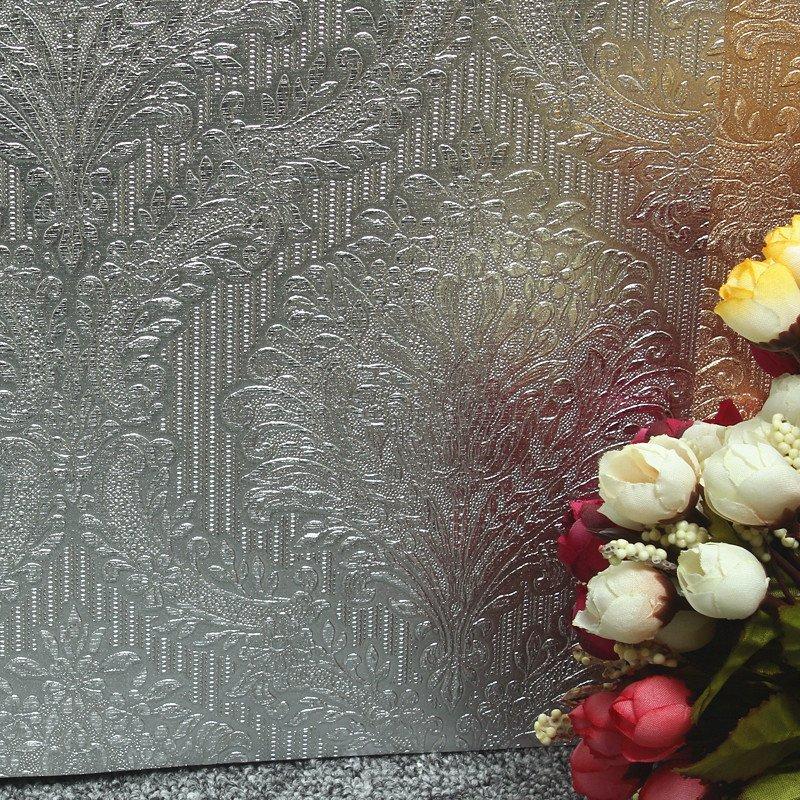 壹加壹防水银箔金箔纸墙纸欧式大马士革电视背景墙影视金黄色壁纸