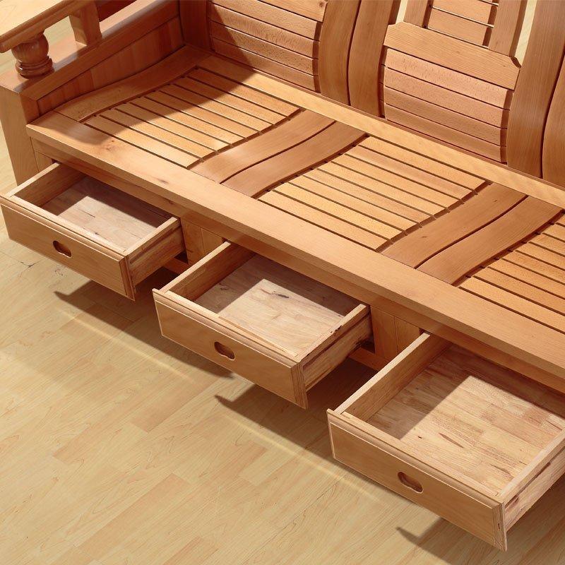 摩力克 中式榉木实木沙发组合 现代客厅实木榉木沙发