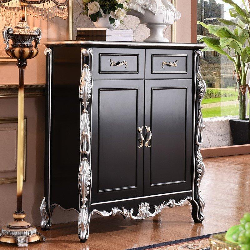 拉菲伯爵 欧式鞋柜 新古典风格黑白描银雕花鞋橱 客厅