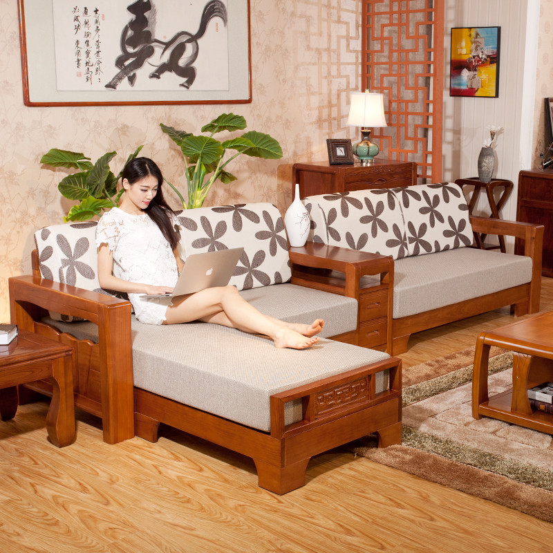 xiyingmnejiasi全实木沙发组合贵妃转角水曲柳布艺木沙发现代中式客厅