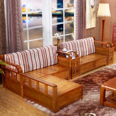 水曲柳实木沙发组合新中式冬夏两用超大储物客厅实木家具双层扶手大小