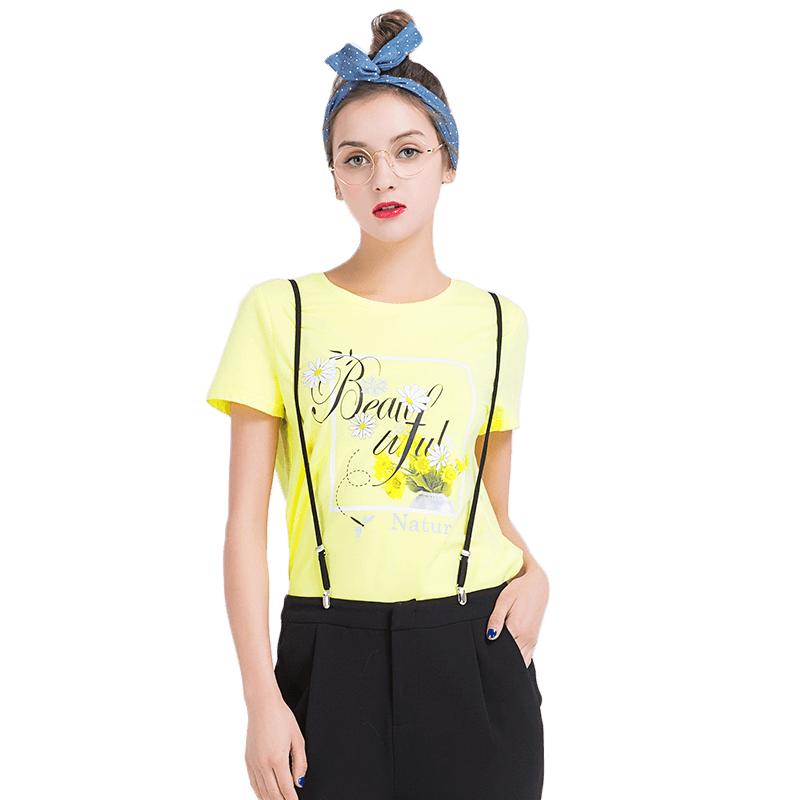 lagogo夏季女短袖t恤韩国短款百搭2017新款时尚字母印花上衣