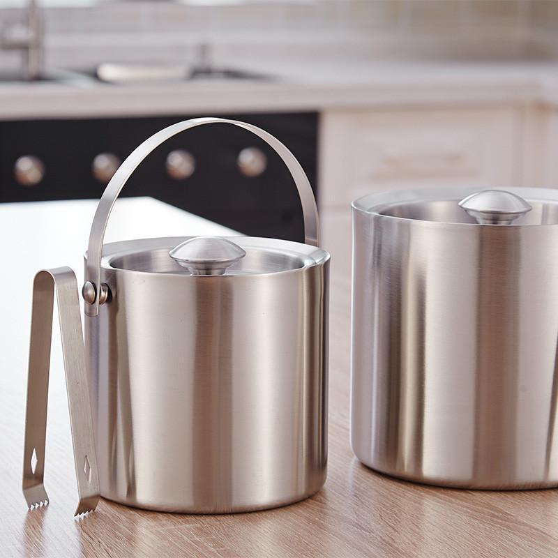双层不锈钢冰桶 有盖红酒桶
