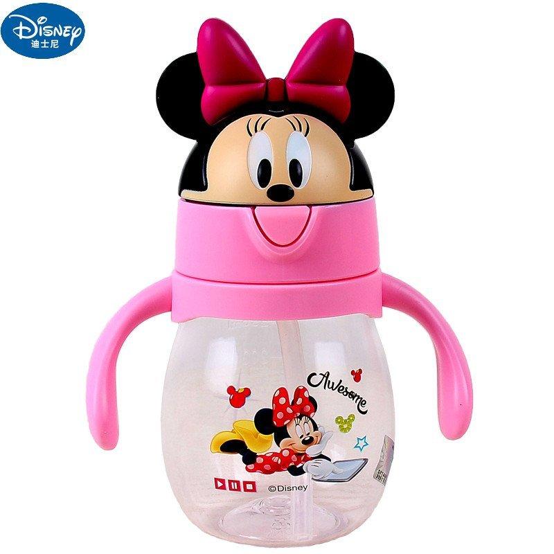 迪士尼米奇宝宝水杯夏儿童软吸管杯幼儿喝水杯子带手柄婴儿学饮杯5843