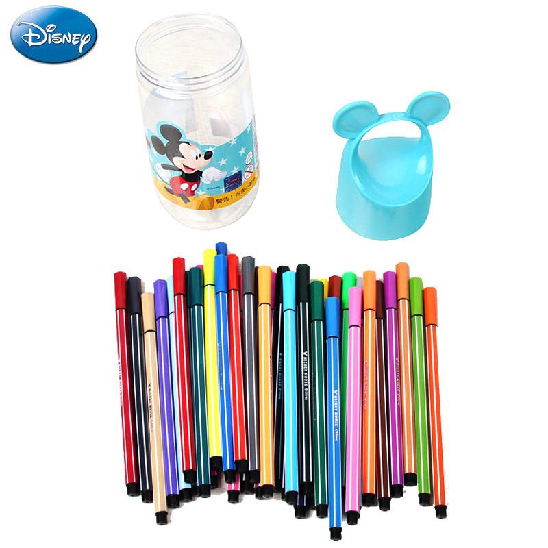 迪士尼米奇水彩笔学生绘画笔 男女童水彩笔桶装儿童创意水彩笔 36色