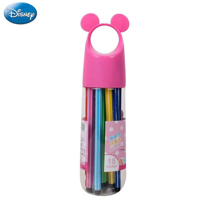 迪士尼米奇水彩笔学生绘画笔 男女童水彩笔桶装儿童创意水彩笔 18色水