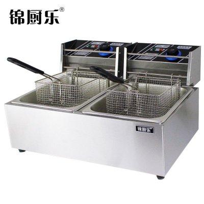 锦厨乐加厚商用双缸双筛电炸炉油炸锅炸薯条机炸鸡炉油炸机油锅机