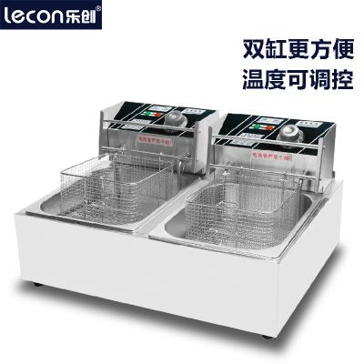 樂創LC-DZG-02商用單缸雙缸加厚電炸爐油炸爐油炸鍋電炸鍋炸薯條油炸機炸鍋