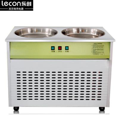 lecon樂創LC-CB03炒冰機商用酸奶機 20L冰粥機炒貨機器雙鍋商用炒酸奶機45KG產冰量 炒冰機 雙壓縮機