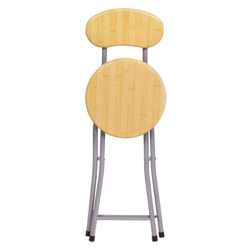 悦含靠背钢折椅木纹面折叠椅 不锈钢椅子 圆凳子 靠背图片