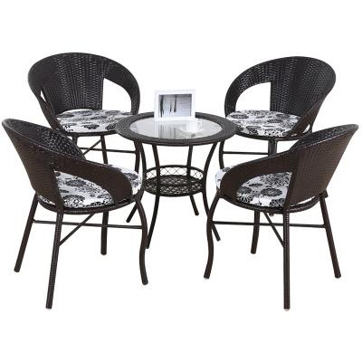 悦含新款田园阳台户外桌椅套件休闲椅子藤椅简约小茶几庭院三件套