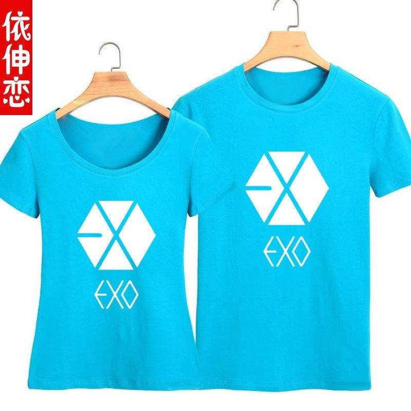 2015夏季短袖exo同款衣服情侣t恤周边修身图案可爱卡通学生宽松夏装男