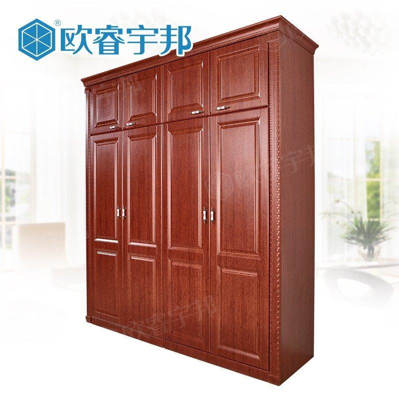 全屋定制 衣帽间衣柜定制 卧室欧式衣柜 对开门衣柜 红色 暗檀留香