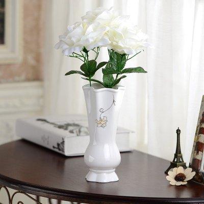 欧式白色陶瓷花瓶摆件客厅餐桌干花瓶陶瓷插花白色小