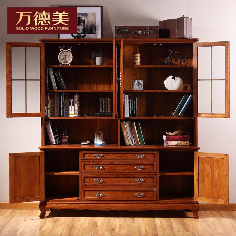 万德美 实木书柜 书架 新简欧书柜书架实木 书架层架图片