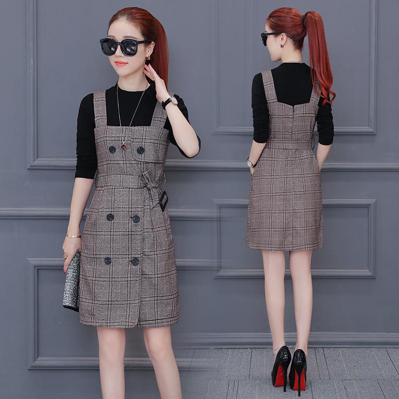 佐露丝连衣裙2017春秋装新款韩版女装时尚套装裙子格子背带裙两件套