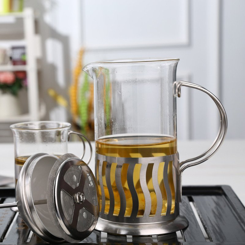 渊之源不锈钢冲茶器 耐热玻璃咖啡壶 办公室泡茶杯子水杯 法式滤压