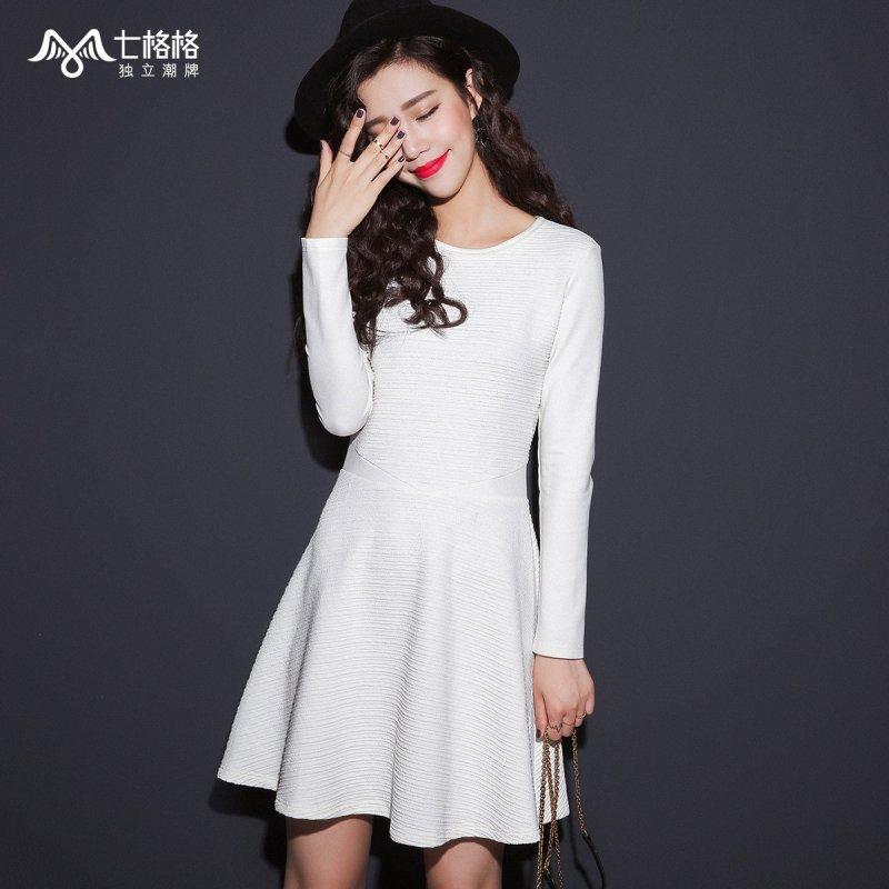 七格格连衣裙女装2015秋冬新款纯色纹理感收腰设计百搭打底a字裙