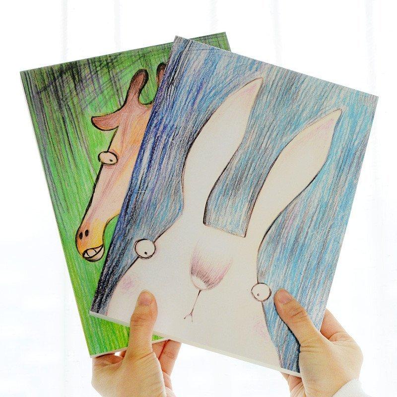 包邮 韩国文具卡通呆萌小动物16k素描本涂鸦本绘画本空白草稿本子