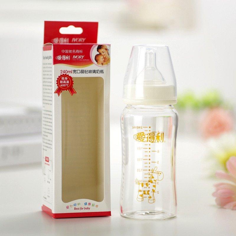 爱得利玻璃奶瓶套装_爱得利y1022宽口径玻璃奶瓶150ml婴儿晶钻玻璃奶瓶宝宝新生儿