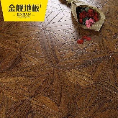 实木复合多层木地板 榆木正方形仿古浮雕拼花 地热暖耐磨15mm