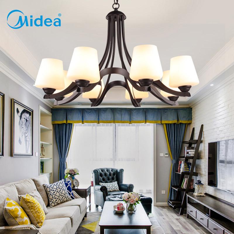 美的(midea)吊灯 美式乡村客厅灯 田园铁艺北欧卧室餐厅灯具简约欧式图片