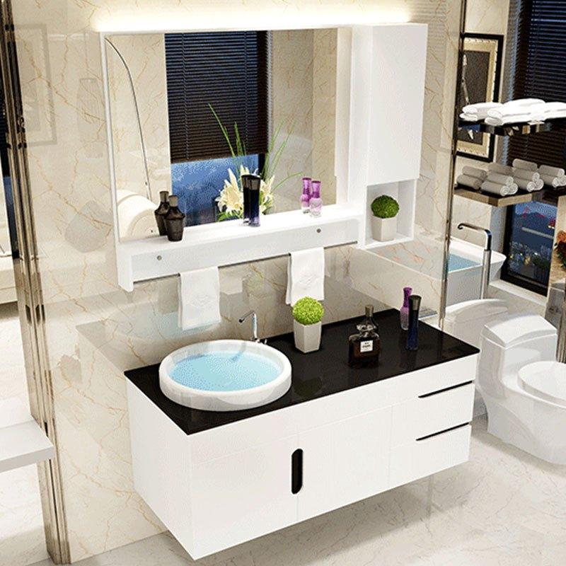 卫浴柜 欧式pvc浴室柜组合 100小洗漱台洗脸盆洗手盆台盆卫生间吊柜