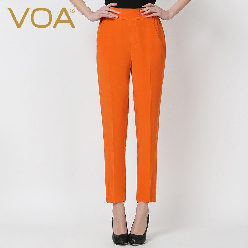 5533fc0m_voa重磅真丝长裤子女哈伦裤 纯色松筋中腰蚕丝休闲新品裤装k5533